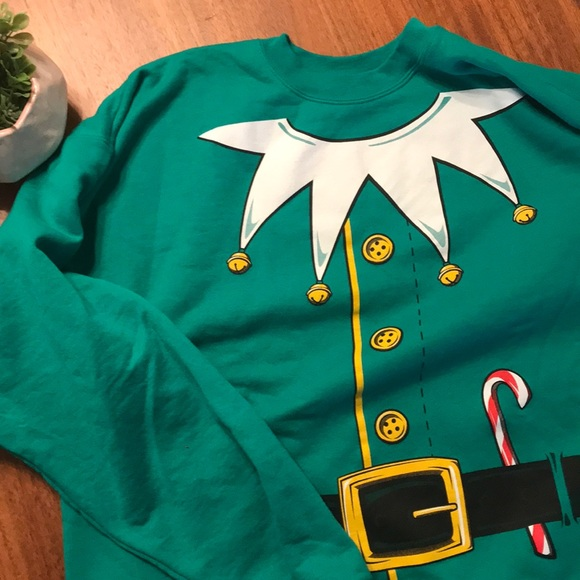 NEW BOYS HANES L SOFT SWEATS CHRISTMAS ELF SWEATSHIRT  BLACK